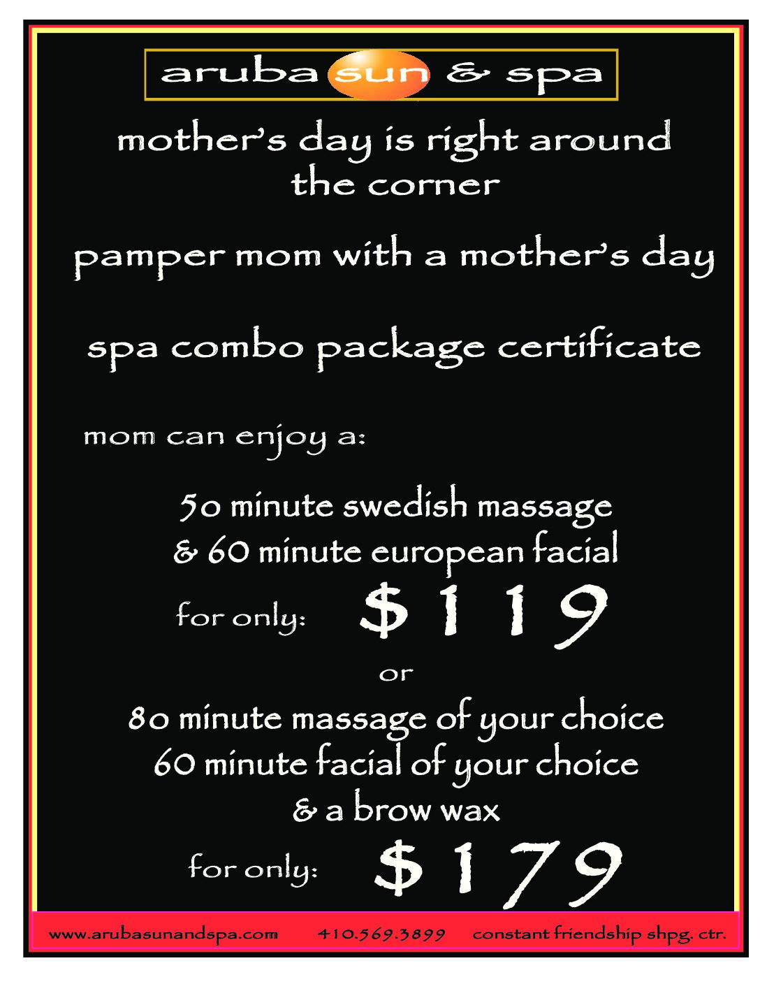 Mother's Day Spa Combo Table Sign